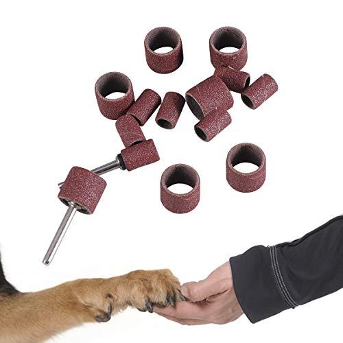 POPETPOP Pet Nail Grinder Ersatz Zubehör Pack, 14 Stücke Schleifen Drum Bands Set Bits für Pet Nagel Bohrer Dorn Kit Drehwerkzeug Nagel Zubehör -