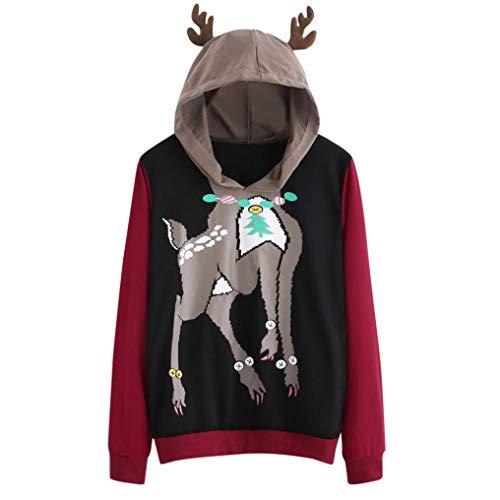 Lucky mall Frauen-Beiläufige Lange Hülsen-mit Kapuze Pullover-Bluse, Elch-Rotwild-Druck-Sweatshirt, Langärmeliger Bedruckter Kapuzenpullover für Damen