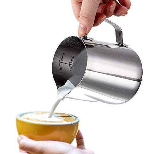 Milchkännchen, Dailyart Milchkännchen aus Edelstahl Milk Pitcher 350ml/12oz Milchkanne Milchschaumkännchen Milch Aufschäumen für Cappuccino und Latte Art, Silber