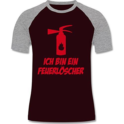 Feuerwehr - Ich bin ein Feuerlöscher - zweifarbiges Baseballshirt für Männer Burgundrot/Grau meliert