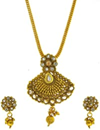 Anuradha Art Gold Finish Stylish Studded With White Colour Stones And Gold Beads Traditional Pendant Set For Women...