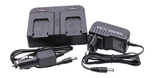 Caricabatterie Rapido Dual vhbw con adattatore auto per batterie BN-VG107 BN-VG108 BN-VG114 BN-VG121 BN-VG138 sostituisce JVC Everio GZ-GX1, GZ-MG750