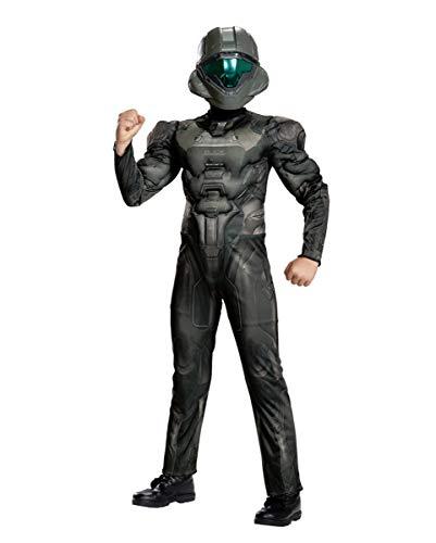 Spiel 3 Halo Kostüm - Horror-Shop Spartan Buck Halo Muskel Kinderkostüm für Karneval und Halloween 10-12 Jahre