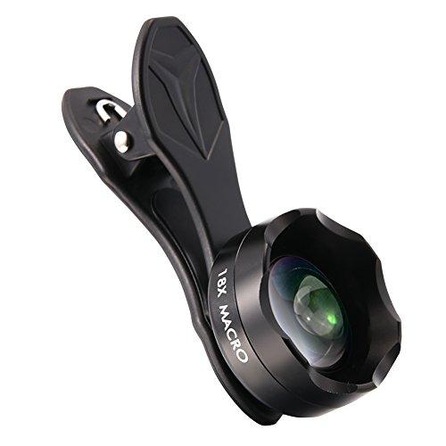 Makro Objektiv Handy Kamera Objektiv von Hihoddy 18x Makro Objektiv für iPhone Samsung Galaxy und alle anderen Smartphones und Tabletten, Schwarz