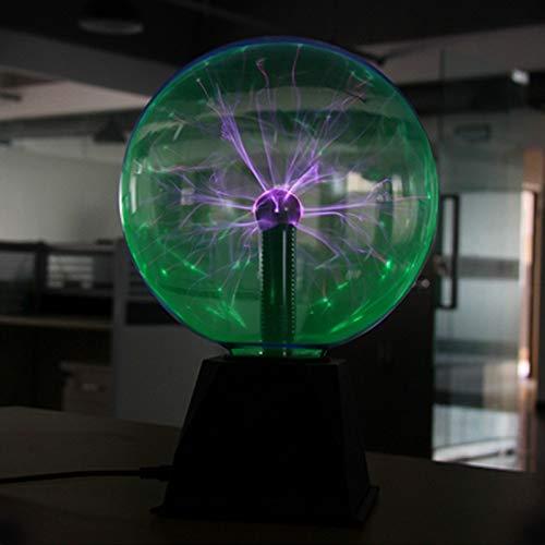 LIZHIOO Nachtlicht 8 Zoll Plasma Ball Lampe Globus statische Nachtlicht Magic Touch Sound empfindliche Glaskugel Spaß Spielzeug Kinder Plazma Schreibtisch (Color : Green) -
