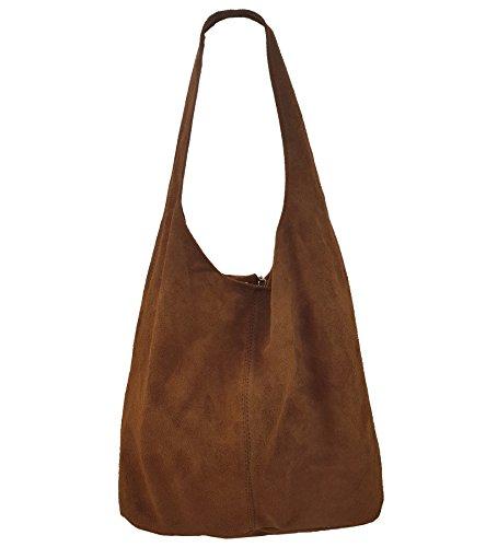 Freyday Damen Ledertasche Shopper Wildleder Handtasche Schultertasche Beuteltasche Metallic look (Braun) -