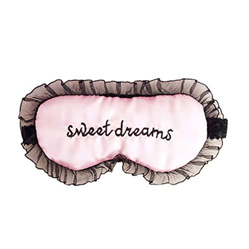 shyyymaoyi süße Stickerei-Buchstaben Polyester Satin Augenmaske Schattenbezug Rest Entspannung Schlafmaske Reise ()