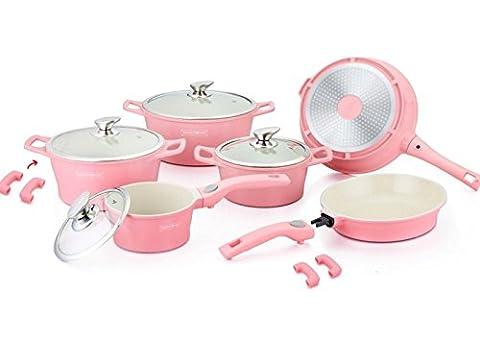 ROYALTY LINE Topfset 14-teilig Keramik Induktion Topf Pfanne Glasdeckel Kochgeschirr Pink