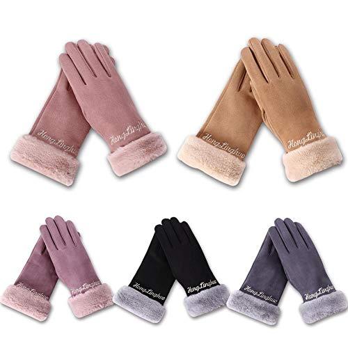 Touchscreen-Handschuhe, winddicht, für Laufen, Outdoor, Sport, Winter, warm, Biken, volle Finger, Fäustlinge, Anti-Rutsch, stoßdämpfend, für Mountainbikes, Motorradhandschuhe, Damen, Wildleder rose