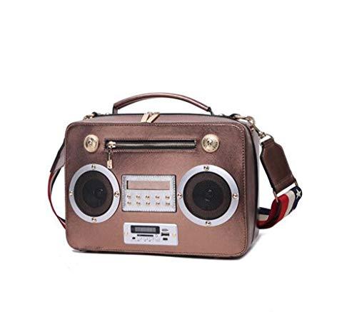 DDHZTA Ladies Handtaschen Lässige Schultertasche Schulter Geschleudert Quadratische Tasche Radio-Funktion Paket,Bronze