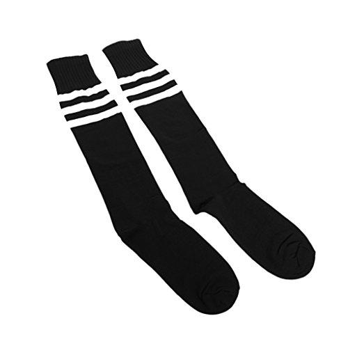 Alt Schule Knie hoch sportlich Sport Rohr Socke (weiß auf schwarz) (Fußball-socken Gestreiftes Schwarz)