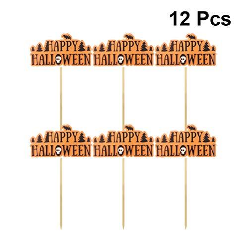Amosfun 12 stücke Happy Halloween Cupcake Topper Bat Schädel Kuchendeckel Lustige Halloween Kuchendeckel Kuchen Picks Dekor für Halloween Party Supplies