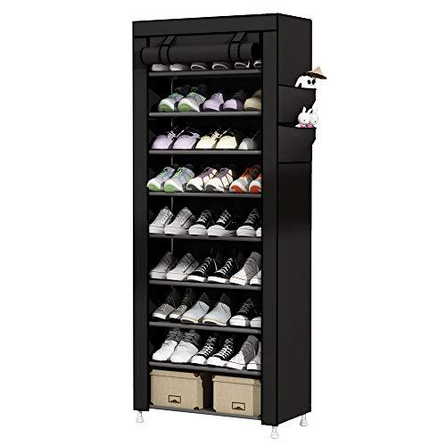 UDEAR Zapato del gabinete Zapatero de Tela 10 Niveles Zapateros y hormas para Zapatos Negro