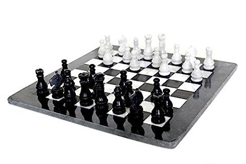 RADICALn 16 Inches Handmade Black and White Marble Full Chess