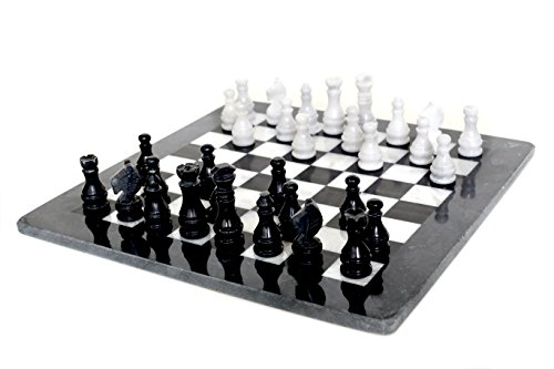 Radicaln Handmade Black & White chess set 32 weighted chess pieces antique Onyx chess board...