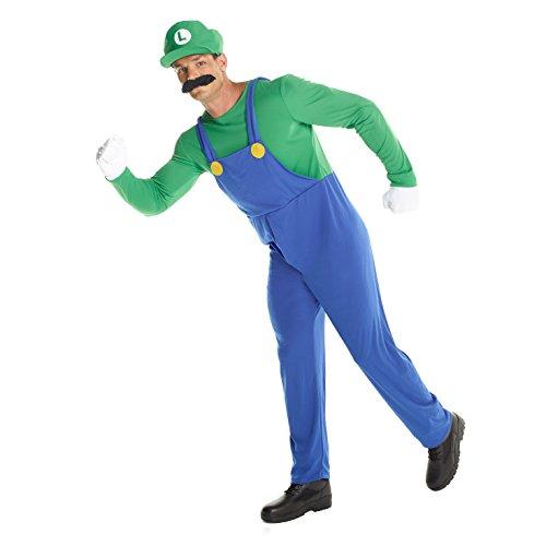 Morph Herren Luigi Kostüm Grün Super-Brüder Klempner Karneval, Halloween oder Parteien Kleidung - Groß (42-44 Zoll / 107-112 cm Brust) (Herr Fantastische Kostüm)