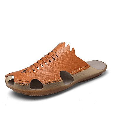 Slippers & amp da uomo;Pelle Nappa Estate Comfort Outdoor Heel Flat White Nero Marrone Walking sandali US8.5-9 / EU41 / UK7.5-8 / CN42