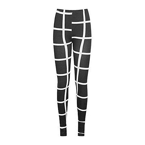 Janisramone Donne signore di formato sexy leggings stampati elastico di jeggings pantaloni 8-22 Controllo Bianco Nero