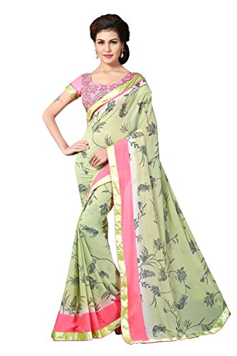 Oomph! Georgette Saree (Rbdp_Ms2794B_Olive Green & Rouge Pink)
