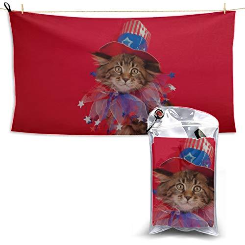 Nette lustige Katze mit Flagge Handtücher Mikrofaser Strand Kidsmicrofiber Strandtücher Strand Küchentücher Cool Strandtücher 27,5 '' X 51 '' (70 X 130 cm) am besten für Gym Travel Camp Yoga Fitnes