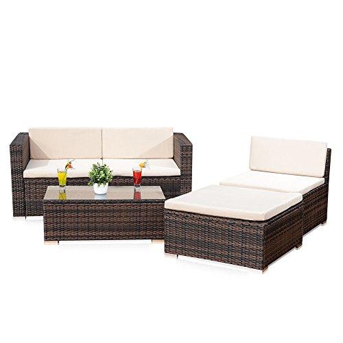 Melko Lounge Sofa-Garnitur Gartenset, Poly Rattan, mit Glastisch, Braun, inklusive Kissen, 5 tlg.
