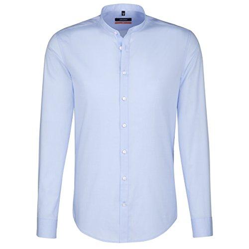 SEIDENSTICKER Herren Hemd Slim 1/1-Arm Bügelfrei Uni / Uniähnlich City-Hemd Stehbund-Kragen Kombimanschette weitenverstellbar blau (0012)