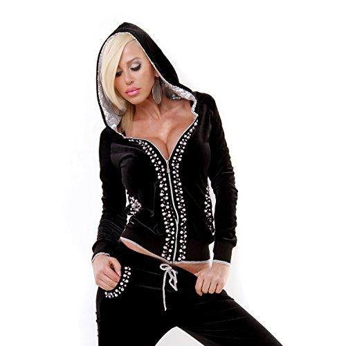Damen Jogginganzug mit Pailletten Strass Perlen Nikianzug Samt Hausanzug Homewear schwarz XL