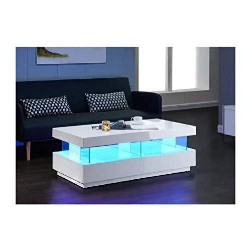 Générique Light Table Basse 120cm laquée Blanc Brillant LED Multicolore