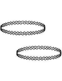 Choker Necklace Combo Black For Girls – Antique Choker Tattoo Combo Set Of 2 For Friends - Flexible Free Size...