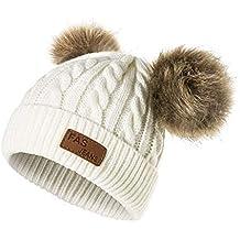 Cappello Bambina Topgrowth Berretti Invernali Ragazza Crochet Cappello A  Maglia Bimbo Caldo Cappello Doppio PON di f3cbe52d4728