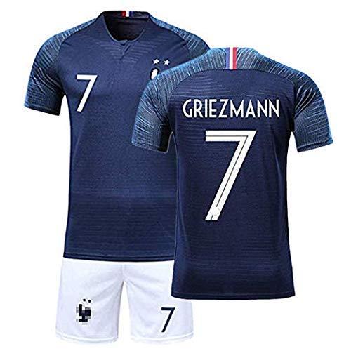 Rying Maillots de Football Enfants de France Soccer Jersey 2018 Coupe du Monde l'équipe France 2 Étoiles Football T-Shirt et Short (Tag 26(Hauteur:140-150cm), GRIEZMANN-7-Bleu)