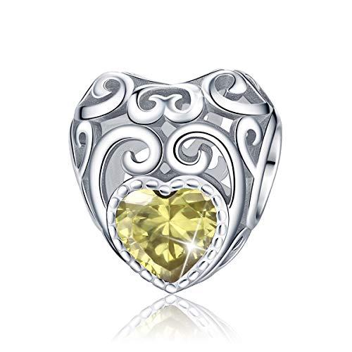 FOREVER QUEEN November Geburtsstein Charms fit für Armband 925 Sterling Silber Bead Charms Herzlichen Glückwunsch zum Geburtstag, Jan-Dec 12 Farben Charms Anhänger für Halskette BJ09018
