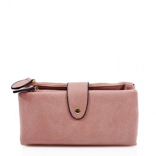 LeahWard Women's Soft Faux Leather Purse Wallet Wristlet Purse For Women (PINK)