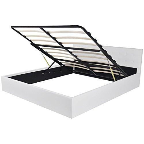 vidaXL Kunstlederbett Doppelbett Polsterbett Gasdruckfeder Bettrahmen 160x200 cm
