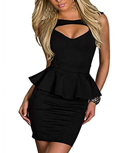Moon Angle Sexy Low Cut Minikleid Abendkleid Cut Out Cocktailkleid Business Kleid Dress (M, Schwarz) -