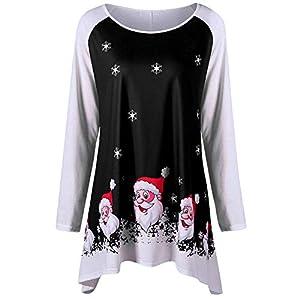 TIFIY Damen Weihnachten Blusen Weihnachtsmann Print Top Casual Pullover Weihnachten Sweatshirt Langarmshirts