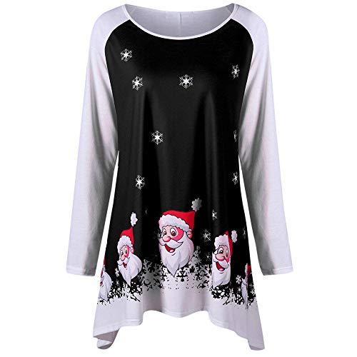 Sonnena Weihnachts Rundhals Weihnachtsmann Druck T-Shirt Tops Lange Hülse Tunic Oberteile Damen, Mode Frauen Xmas Langarmshirt Sweatshirt Herbst Winter Party Bluse Kostüm