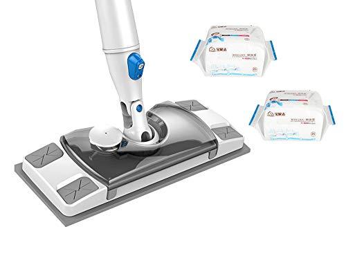 UPP Spray Mop con Serbatoio Piatto con 50 Panni USA e Getta – Come lavapavimenti con Funzione Spray – Panni da Pavimento Adatto per Pulire Bagnato e Asciutto. Bianco
