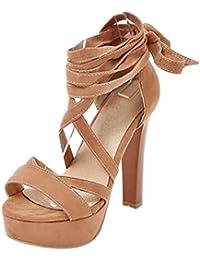 COOLCEPT Mujer Moda Cordones Sandalias Peep Toe Plataforma Tacon Ancho Zapatos