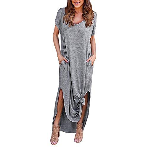 VEMOW Damenmode Tasche Lose Kleid Damen Rundhalsausschnitt beiläufige Tägliche Lange Tops Kleid Plus Größe(Z4-Grau, EU-42/CN-S) (Weiß Kleid Marine-blau Frauen Und)