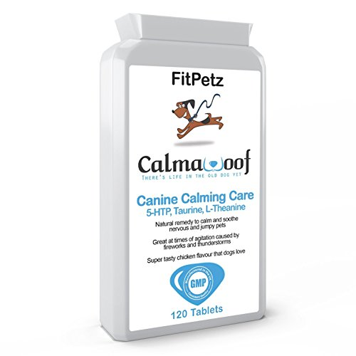 Dog Calming & Soothing Supplements – CalmaWoof – Taurine, Inositol, 5-HTP, L-Theanine, Vit B1, Ginger Extract, Magnesium – 120 Chicken Flavoured Tablets – Taste Guarantee – UK Made