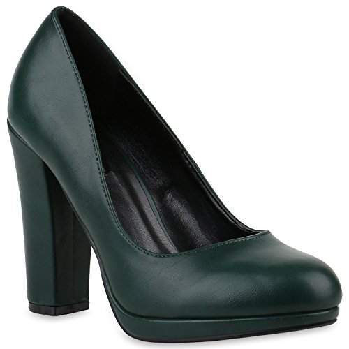Stiefelparadies Damen Klassische Pumps High Heels Leder-Optik Elegante Schuhe 145067 Dunkelgrün Basic 38 | Flandell® (Pumps Grüne Leder)