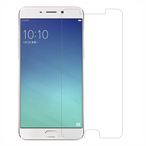 Protector de pantalla Cristal templado para Oppo R9 Plus Calidad HD, Grosor 0,3mm, Bordes redondeados 2,5D, alta resistencia a golpes 9H. No deja burbujas en la colocación (Incluye instrucciones y soporte en Español)