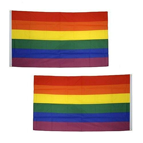 2394bc7858dea 2 Stück Regenbogen Flagge Gay Flagge Gay Pride Flagge LGBT Flagge  Regenbogenfahne Rainbow Flag Gay Flag