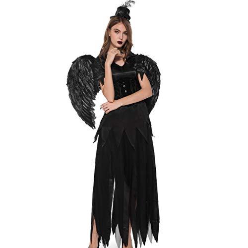 Vintage Engel Kostüm - Damen Halloween Kleider Cosplay Kostüm Vintage Vampire Magie Hexe Schwarz Engel V-Ausschnitt Einfarbig Party Karneval Festival Lange Maxi Kleid Schwarz S