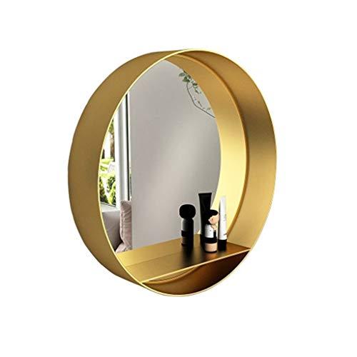 HEMFV Goldener runder Eisenregal-Kosmetikspiegel-Tischplattenhaus an der Wand befestigter Schlafzimmerspiegel (Color : 50CM)