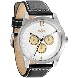 House of Marley 'Billet Leather' Colour Iron Unisex Quartz Watch with White Dial Analogue Display and Black Leather Strap WM-FA005-IO