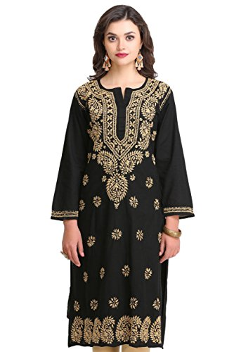 ADA Hand Embroidered Lucknow Chikan Womens Cotton Kurta Kurti A207632 (XXXXX-Large)