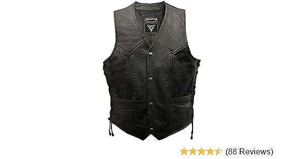 Skintan Brace Real Leather Hand Plaited Lace Sided Black Waistcoat