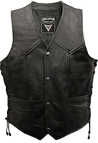 En cuir pour homme Pour moto/motard face Skintan Gilet sans manches en dentelle - Noir - X-Large